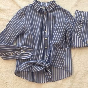 J. Crew Blue and White stripe blouse with ties